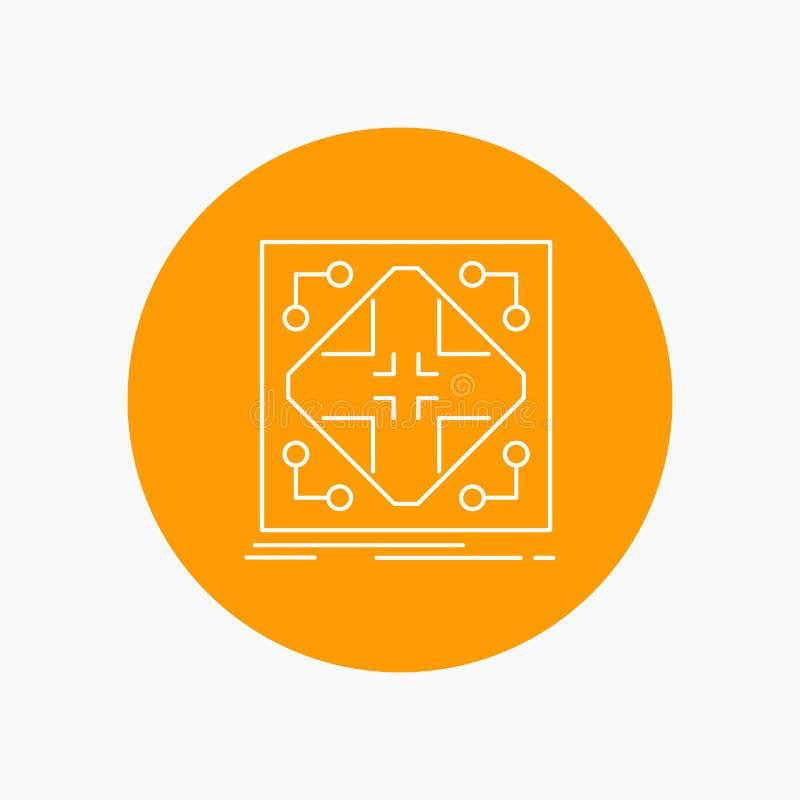 Données, infrastructure, réseau, matrice, ligne blanche icône de grille à l'arrière-plan de cercle Illustration d'ic?ne de vecteu illustration libre de droits