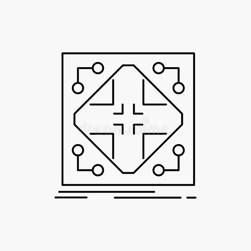 Données, infrastructure, réseau, matrice, ligne de grille icône Illustration d'isolement par vecteur illustration de vecteur