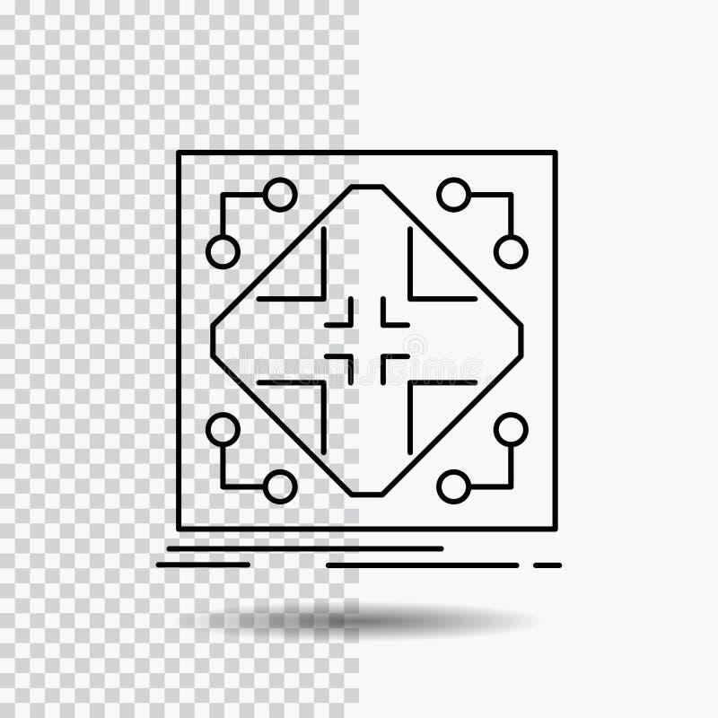 Données, infrastructure, réseau, matrice, ligne de grille icône sur le fond transparent Illustration noire de vecteur d'ic?ne illustration stock