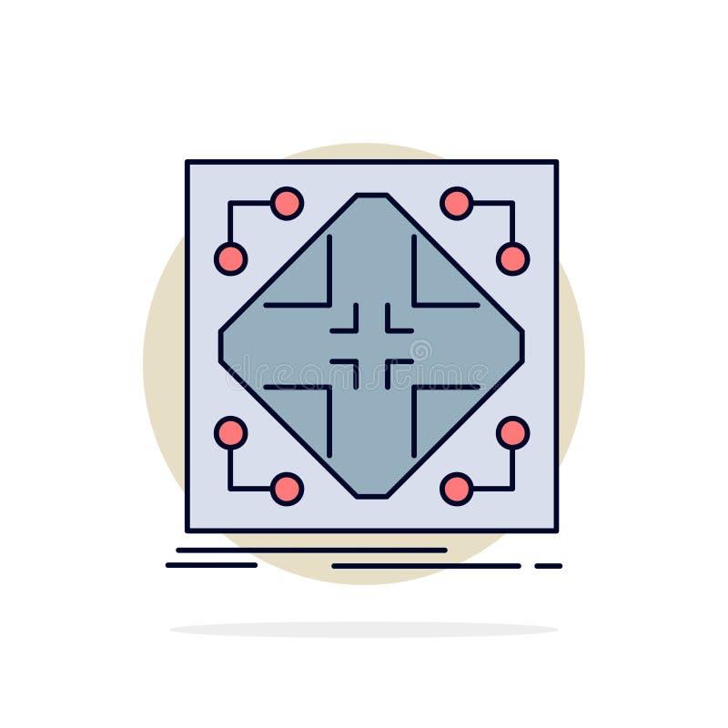 Données, infrastructure, réseau, matrice, vecteur plat d'icône de couleur de grille illustration libre de droits
