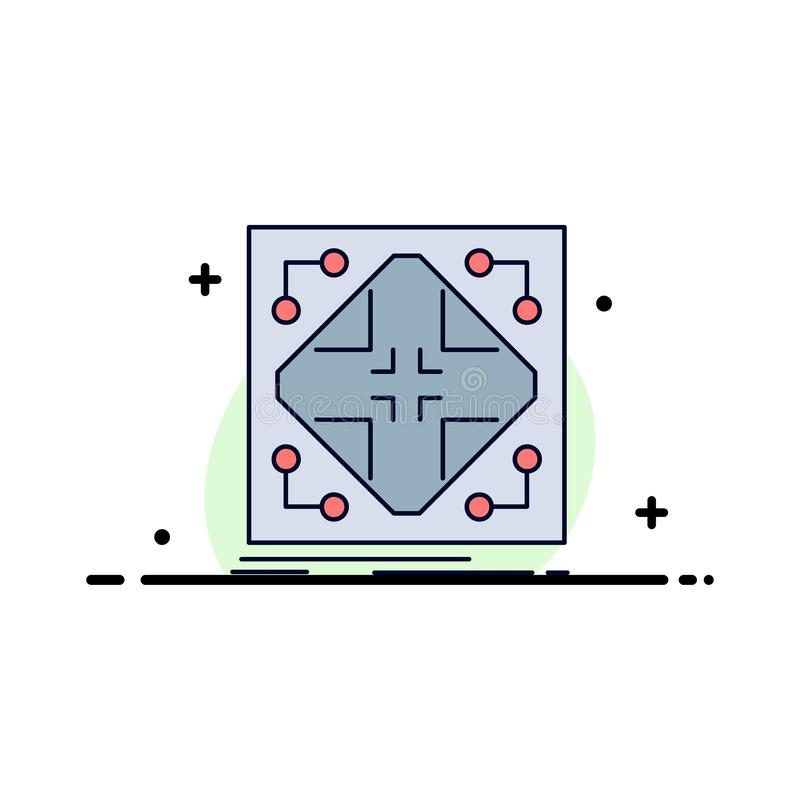 Données, infrastructure, réseau, matrice, vecteur plat d'icône de couleur de grille illustration de vecteur