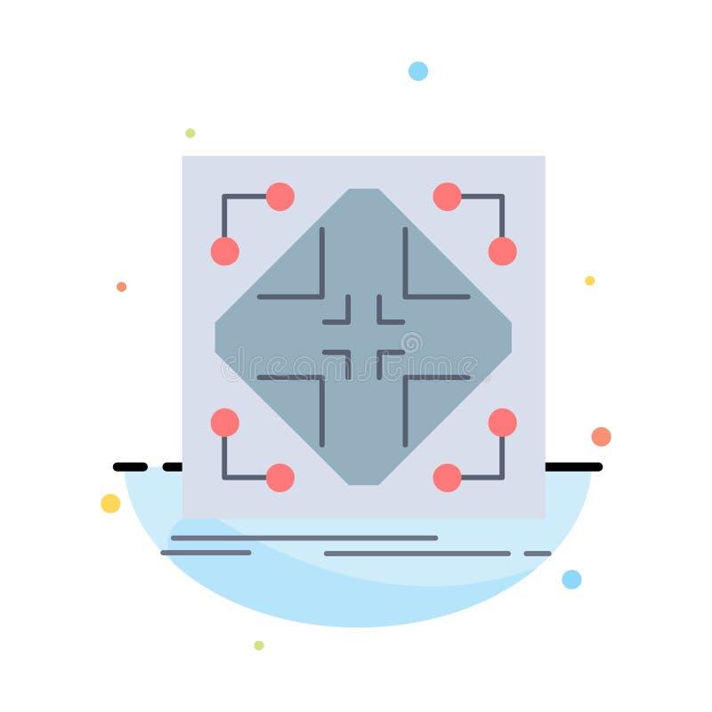 Données, infrastructure, réseau, matrice, vecteur plat d'icône de couleur de grille illustration stock