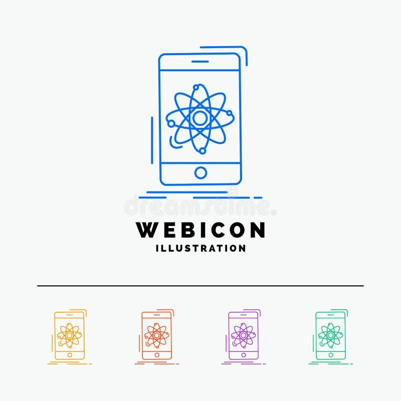 données, l'information, mobile, recherche, discrimination raciale de la science 5 calibre d'icône de Web d'isolement sur le blanc illustration de vecteur