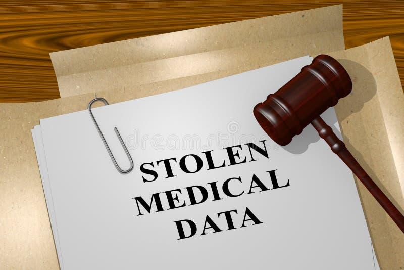 Données médicales volées - concept juridique illustration stock