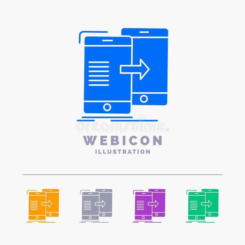 données, partageant, synchronisation, synchronisation, calibre syncing d'icône de Web de Glyph de 5 couleurs d'isolement sur le b illustration stock