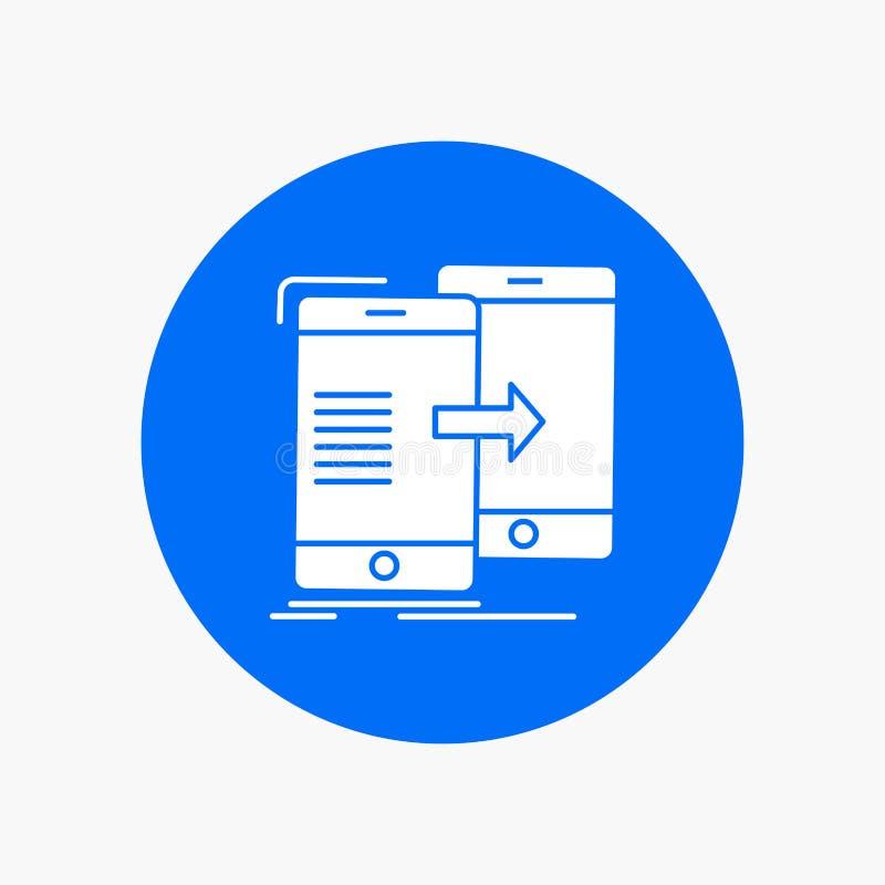données, partageant, synchronisation, synchronisation, icône blanche syncing de Glyph en cercle Illustration de bouton de vecteur illustration stock