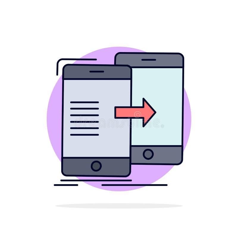 données, partageant, synchronisation, synchronisation, vecteur plat syncing d'icône de couleur illustration stock