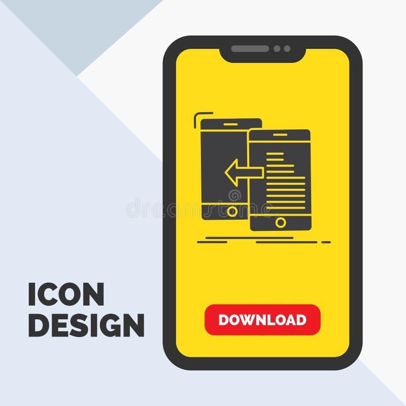 données, transfert, mobile, gestion, icône de Glyph de mouvement dans le mobile pour la page de téléchargement Fond jaune illustration stock