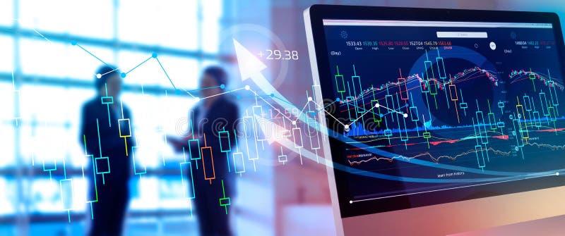 Donn?es financi?res sur l'?cran Affaires abstraites Investissement et gain et bénéfices de marché boursier avec des diagrammes de image libre de droits