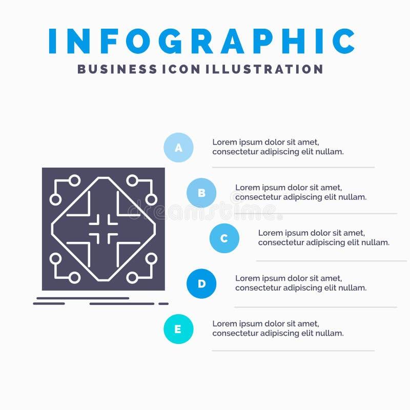 Donn?es, infrastructure, r?seau, matrice, calibre d'Infographics de grille pour le site Web et pr?sentation Ic?ne grise de GLyph  illustration de vecteur