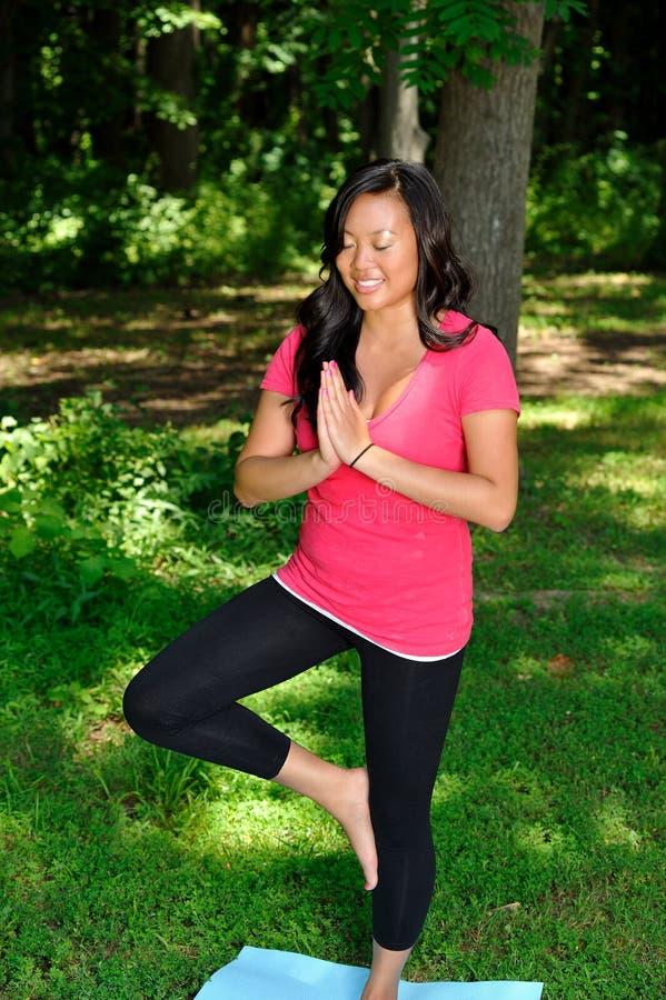 Donna abbastanza asiatica - yoga nella sosta immagini stock libere da diritti
