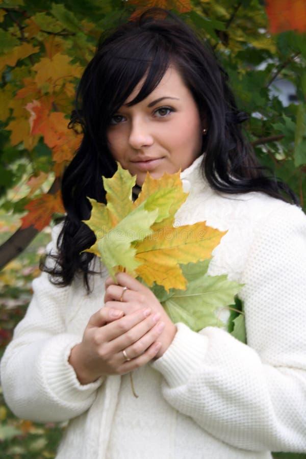 Donna abbastanza giovane con un mazzo di fogli di autunno immagine stock libera da diritti