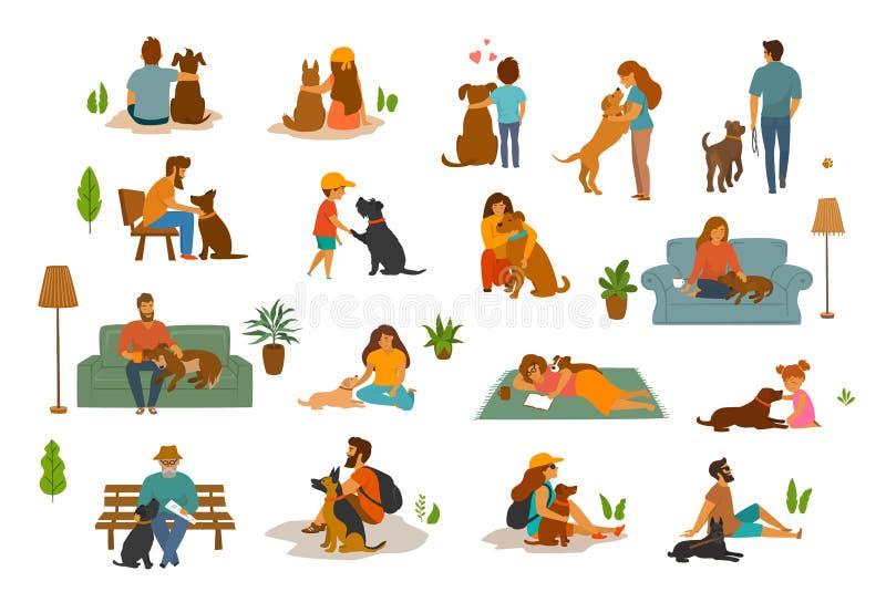 Donna, adulti e bambini dell'uomo della gente con i terreni dei cani preparati royalty illustrazione gratis
