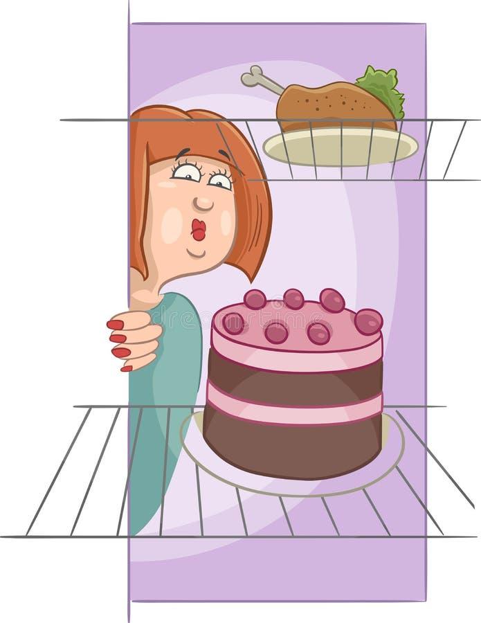 Donna affamata sul fumetto di dieta illustrazione vettoriale