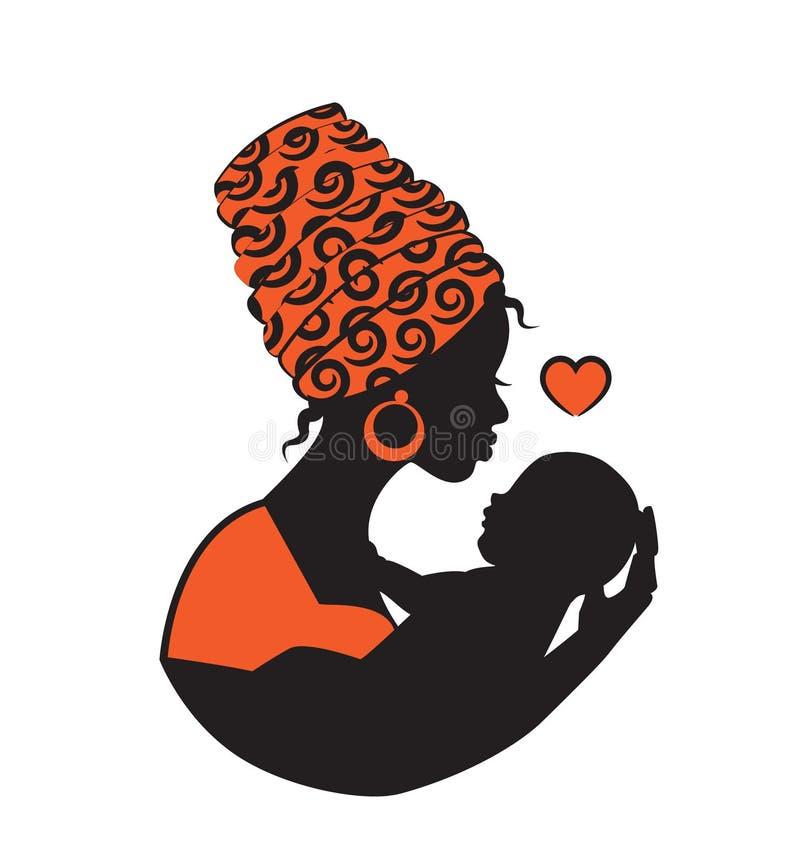Donna africana con il bambino royalty illustrazione gratis