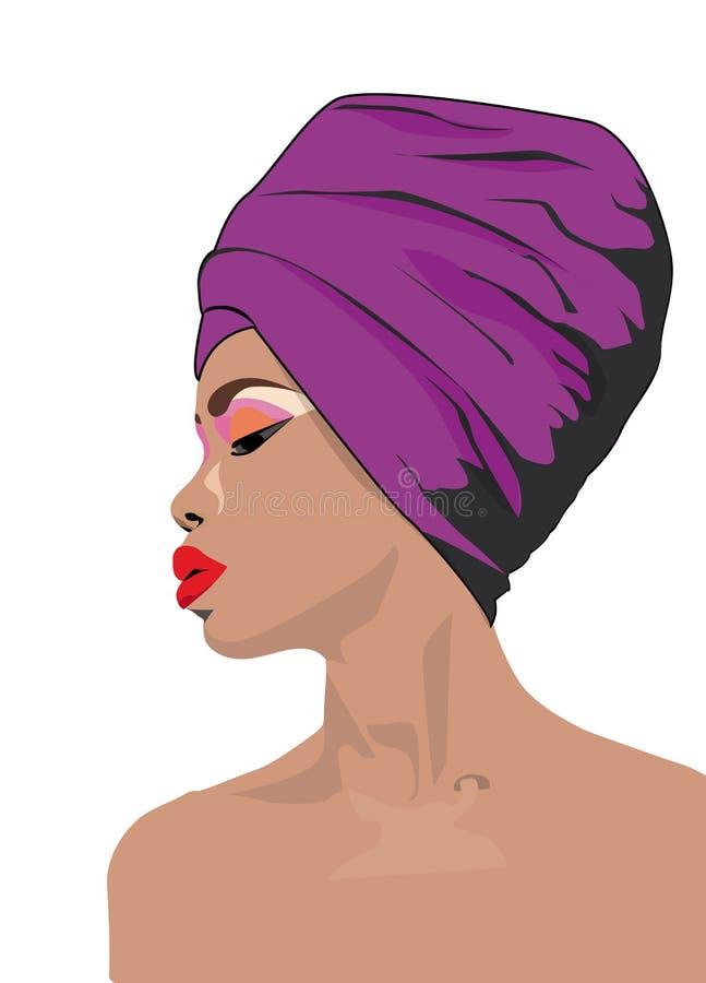 Donna africana con l'illustrazione tradizionale della sciarpa illustrazione vettoriale