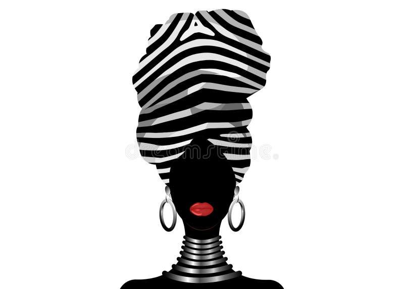 Donna africana del ritratto di vettore in turbante a strisce tradizionale, involucro della testa di Kente, stampa di dashiki, sil illustrazione vettoriale