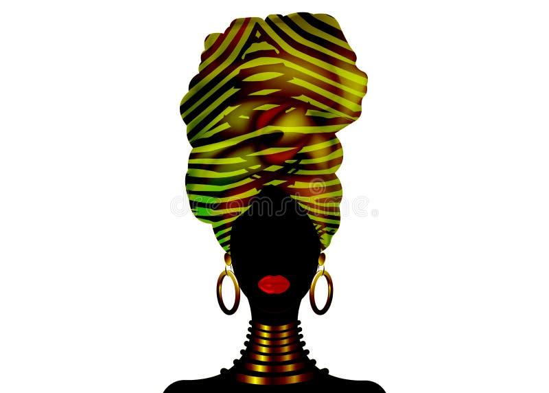 Donna africana del ritratto di vettore in turbante a strisce tradizionale, involucro della testa di Kente, stampa di dashiki, sil illustrazione di stock