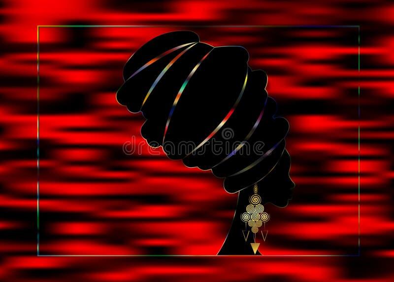 Donna africana del ritratto in turbante tradizionale, afro dell'involucro della testa di Kente, dashiki, siluetta di vettore dell illustrazione vettoriale
