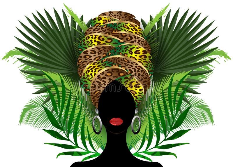 Donna africana del ritratto in turbante tradizionale, involucro della testa di Kente, stampa di dashiki, afro nero della siluetta royalty illustrazione gratis