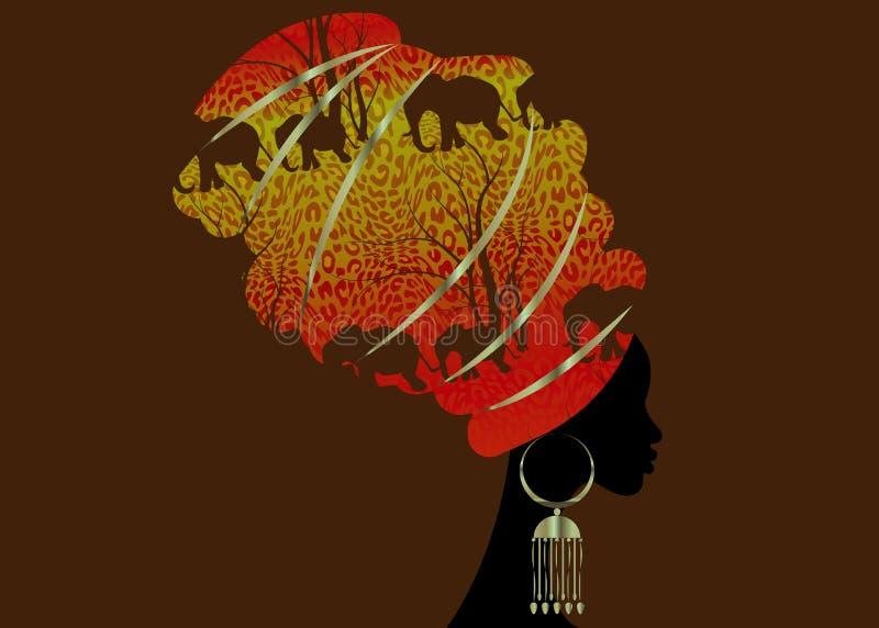 Donna africana della bella siluetta del ritratto in turbante tradizionale, afro dell'involucro della testa di Kente, stile tradiz royalty illustrazione gratis
