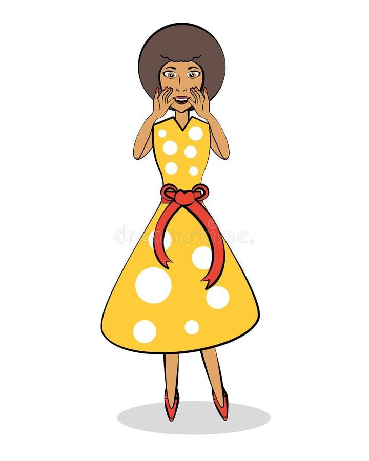 Donna africana di Pop art sorpresa royalty illustrazione gratis