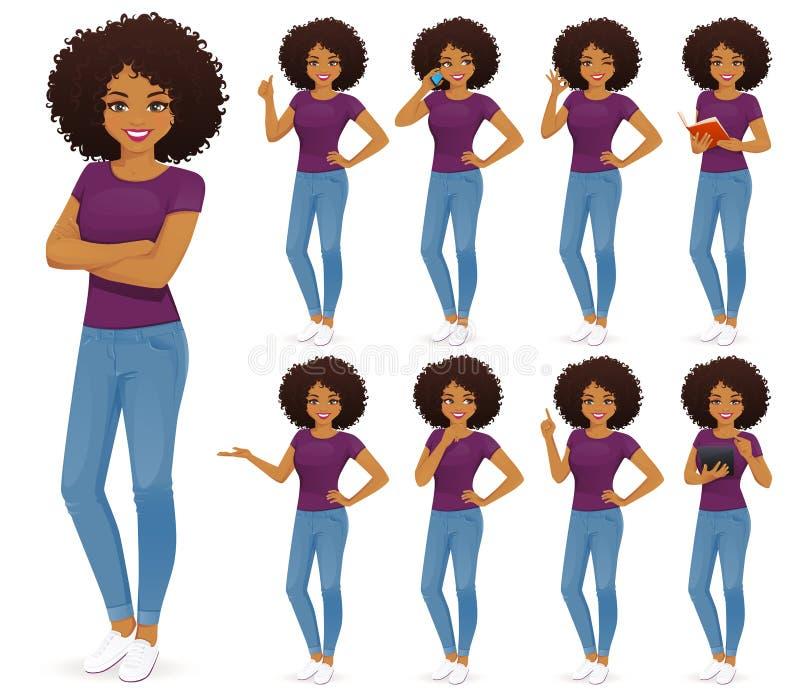 Donna africana in jeans messi royalty illustrazione gratis
