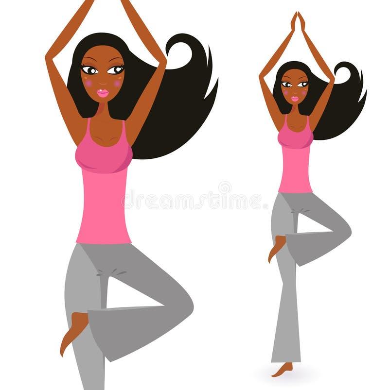Donna afro-american nella posa di condizione di yoga illustrazione di stock