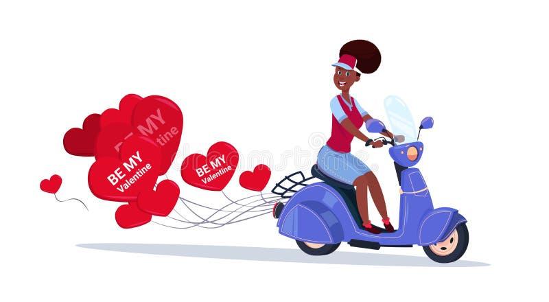 Donna afroamericana che guida la retro bici del motore con il concetto felice di giorno di biglietti di S. Valentino degli aerost royalty illustrazione gratis