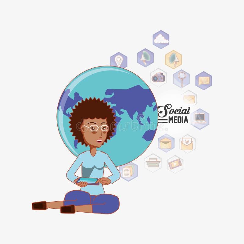 Donna afroamericana che si siede facendo uso dei apps sociali di media del mondo del telefono illustrazione vettoriale
