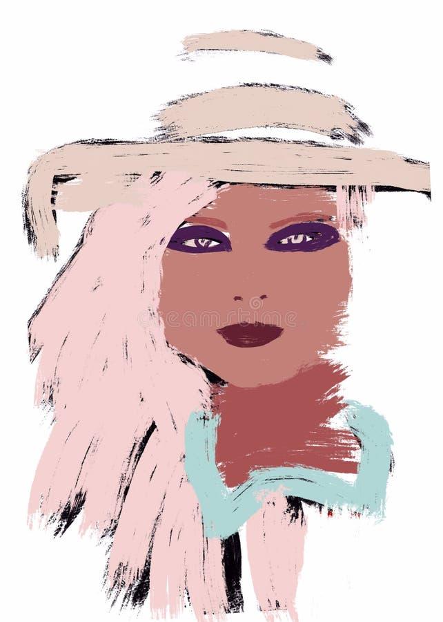 Donna afroamericana di verniciatura o ragazza africana con l'afro illustrazione vettoriale
