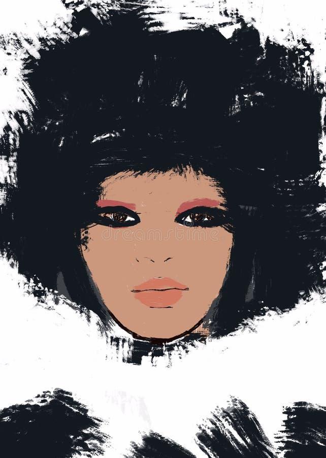 Donna afroamericana di verniciatura o ragazza africana con l'afro illustrazione di stock