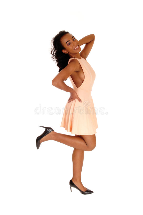 Donna afroamericana felice nel profilo fotografie stock libere da diritti