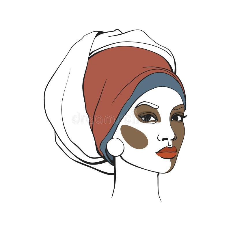 Donna afroamericana in foulard con trucco Fronte astratto Illustrazione di modo Illustrazione di vettore fotografia stock