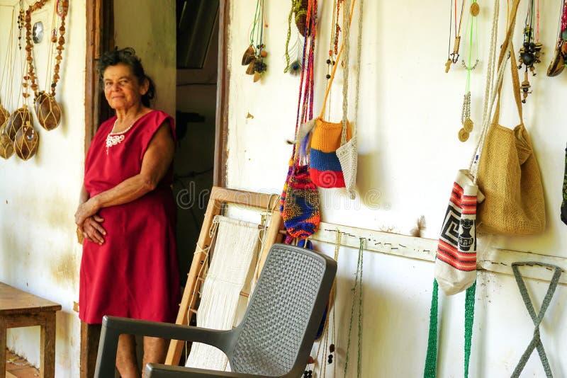 Donna agricola in Guane, Colombia fotografia stock libera da diritti