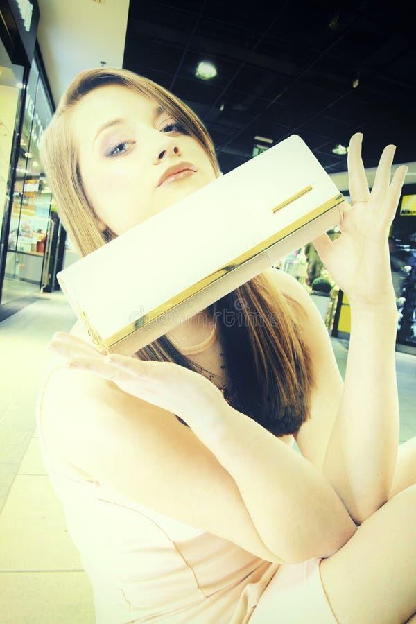 Donna alla moda del ritratto con la borsa nel centro commerciale immagini stock libere da diritti
