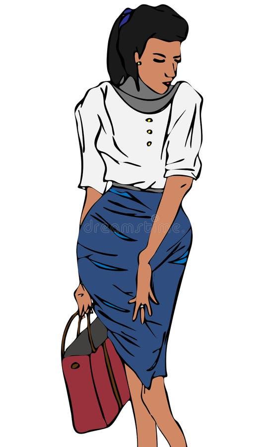 Download Donna Alla Moda Nell'illustrazione Di Vettore Isolata Borsa Della Tenuta Della Gonna Illustrazione Vettoriale - Illustrazione di vestiti, proposta: 30828457