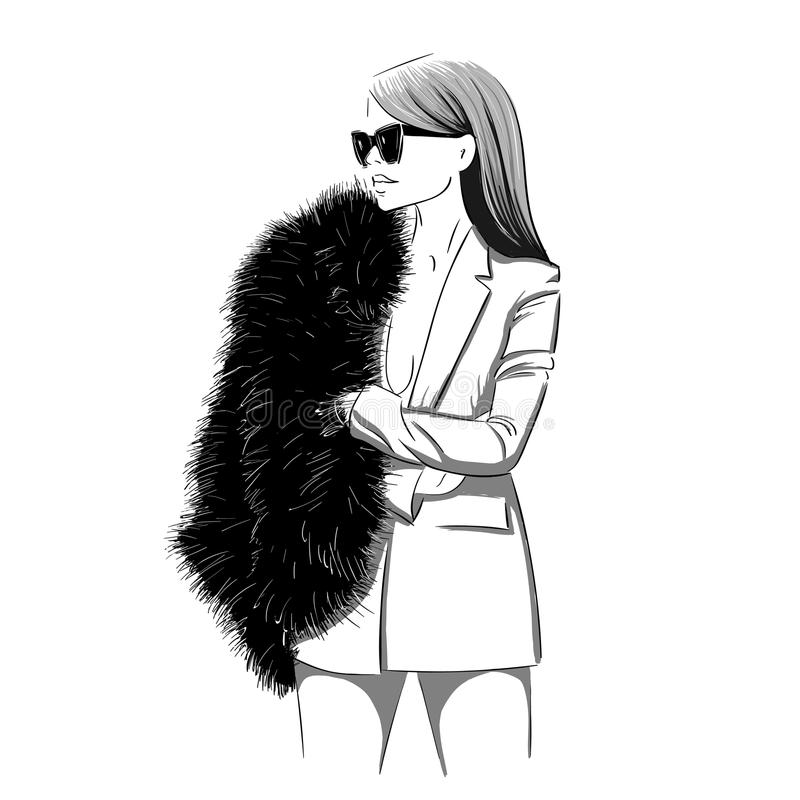 Donna alla moda in pelliccia illustrazione di stock