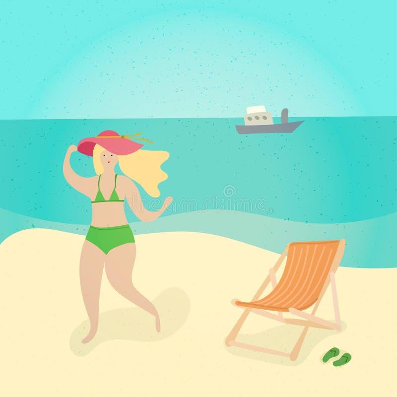 Donna alla spiaggia - illustrazione isolata carattere della gente del fumetto Ragazza in bikini e nella condizione rossa del capp illustrazione vettoriale
