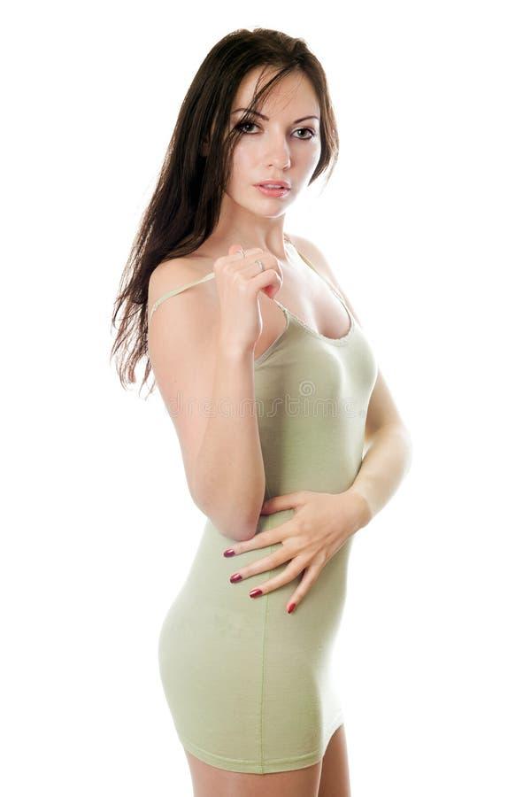 Donna allegra in vestito verde oliva fotografia stock libera da diritti