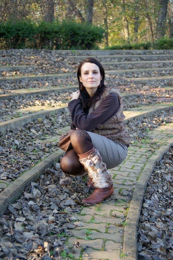 Donna in anfiteatro fotografia stock