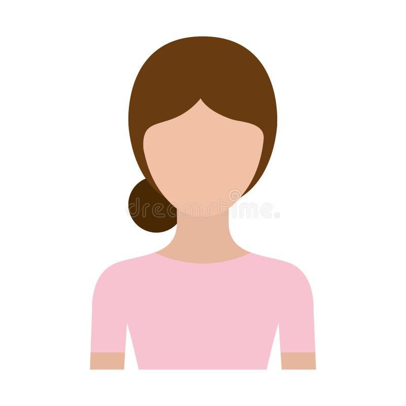 Donna anonima del corpo della siluetta variopinta mezza con l'acconciatura raccolta panino illustrazione di stock