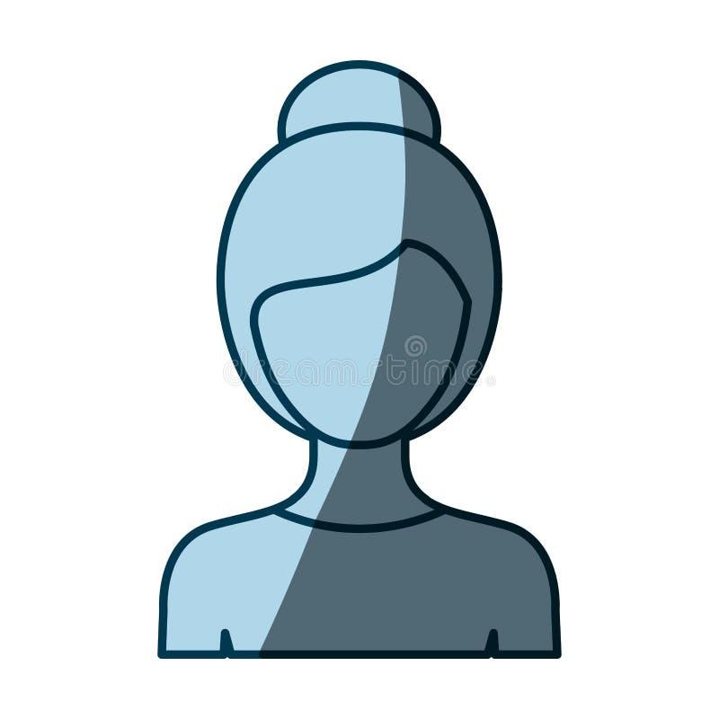 Donna anonima del corpo di colore della siluetta blu di ombreggiatura mezza con l'acconciatura raccolta royalty illustrazione gratis