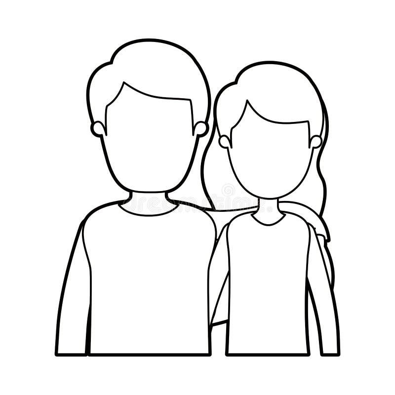 Donna anonima delle coppie del corpo di caricatura spessa nera di contorno mezza con brevi capelli ondulati ed uomo royalty illustrazione gratis