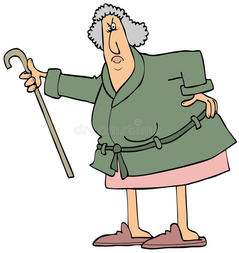 Donna anziana arrabbiata che scuote la sua canna illustrazione di stock