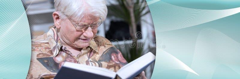 Donna anziana che legge un libro Bandiera panoramica immagine stock libera da diritti
