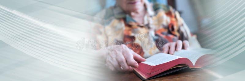 Donna anziana che legge un libro; insegna panoramica immagini stock