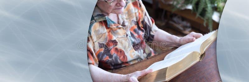 Donna anziana che legge un libro; insegna panoramica immagine stock