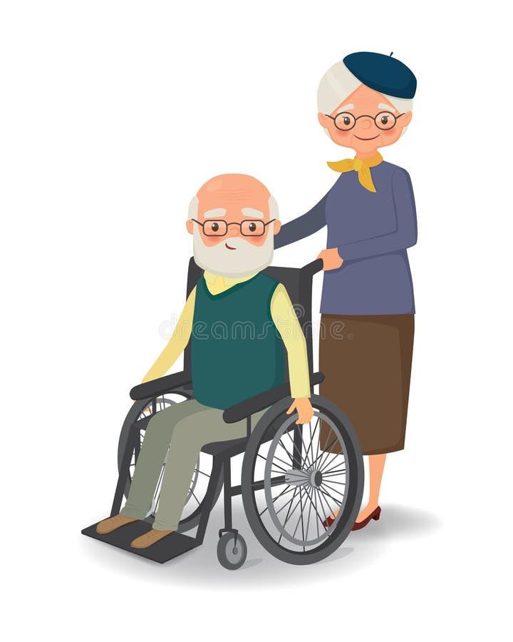 Donna anziana che passeggia con l'uomo anziano disabile illustrazione di stock