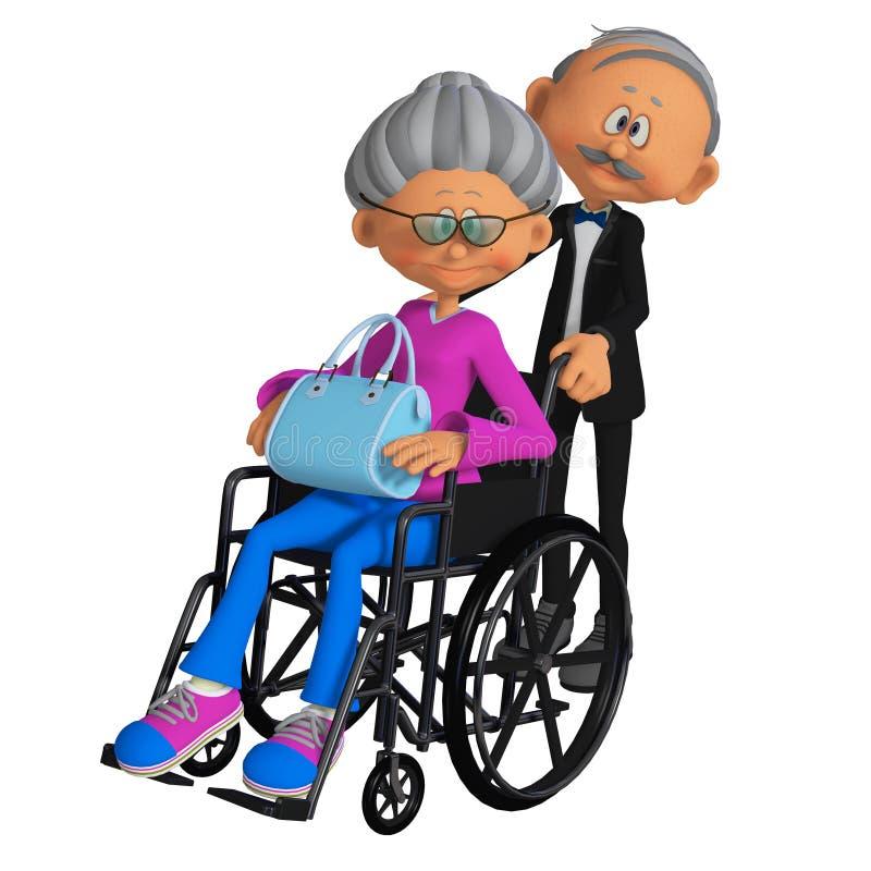 Donna anziana che si siede nella sedia a rotelle 3d illustrazione di stock